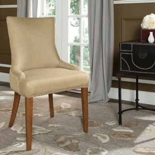 Safavieh En Vogue Dining Becca Beige Viscose Walnut Finish Dining Chair