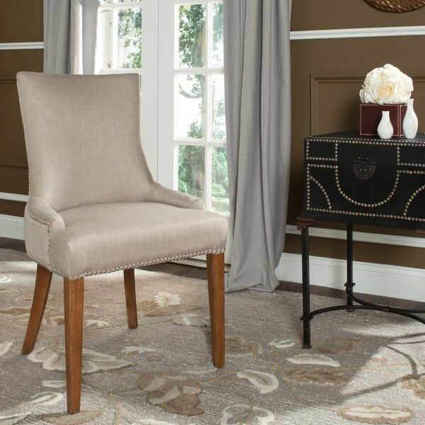 Safavieh En Vogue Dining Becca Beige Viscose Walnut Finish Side Chair