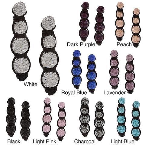 La Preciosa Sterling Silver and Black Cord White Crystal Bead Earrings