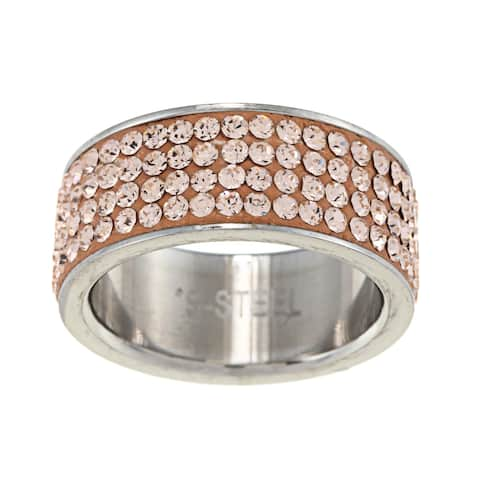 La Preciosa Stainless Steel Crystal Ring