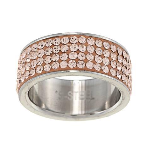 La Preciosa Stainless Steel Crystal Ring