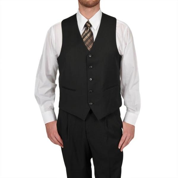 Adolfo Men's Solid Black 5-button Suit Separate Vest