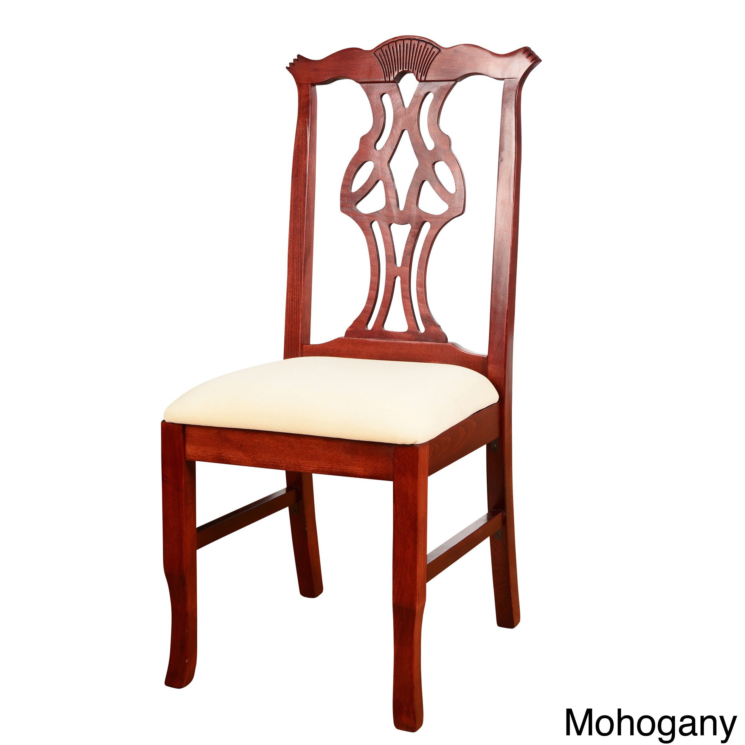 Wood Chippendale Dining Chair (Mahogany), Red (Microfiber)