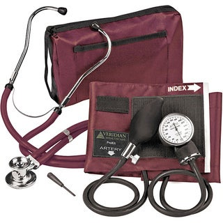 Veridian Adult Burgundy Adjustable Aneroid Sphygmomanometer Sprague Stethoscope Kit