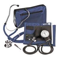 Navy Blue Adjustable Aneroid Sphygmomanometer with Sprague Stethoscope Adult Kit