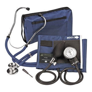 Navy Blue Adjustable Aneroid Sphygmomanometer with Sprague Stethoscope Adult Kit