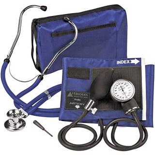 Blue Adjustable Aneroid Sphygmomanometer with Sprague Stethoscope Adult Kit