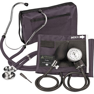 Veridian Adult Black Adjustable Aneroid Sphygmomanometer with Sprague Stethoscope Kit