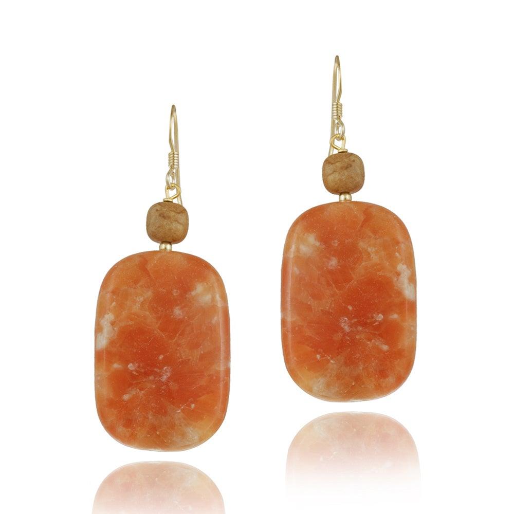 Glitzy Rocks 18k Gold over Silver Orange Carnelian and Picture Jasper Earrings
