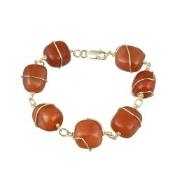 Glitzy Rocks 18k Gold over Silver Red Aventurine Nugget Bracelet