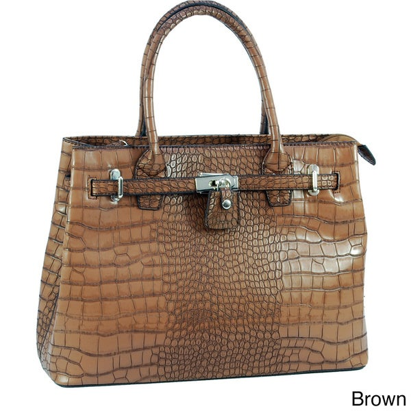 Dasein 'Precious' Faux Leather Croco Front-lock Satchel