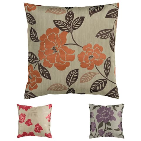 Jacquard 22-inch Floral Feather Down Pillow