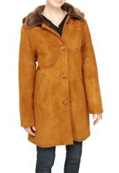 Aston Leather Women's Sheepskin Shearling Hooded Car Coat