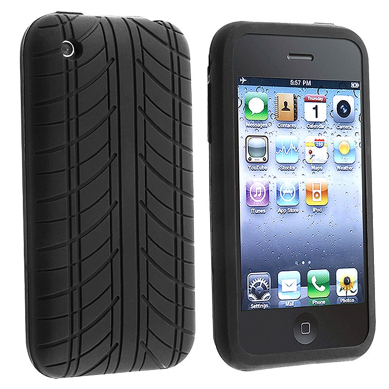 INSTEN Black Tire Tread Soft Silicone Skin Phone Case Cover for Apple iPhone 3G / 3GS - Thumbnail 0