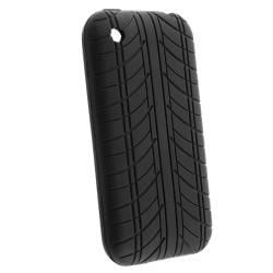 INSTEN Black Tire Tread Soft Silicone Skin Phone Case Cover for Apple iPhone 3G / 3GS - Thumbnail 2