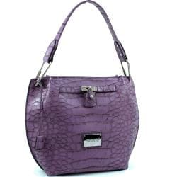 Dasein Faux Leather Embossed Croco Hobo Bag
