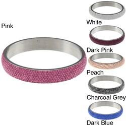 La Preciosa Stainless Steel Crystal Bangle Bracelet