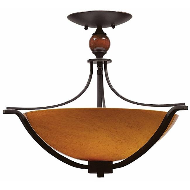Triarch International Halogen VI 3-light Oil Rubbed Bronze Flush Mount