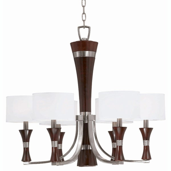 Triarch International Brady 6-light Brushed Steel and Wood Chandelier