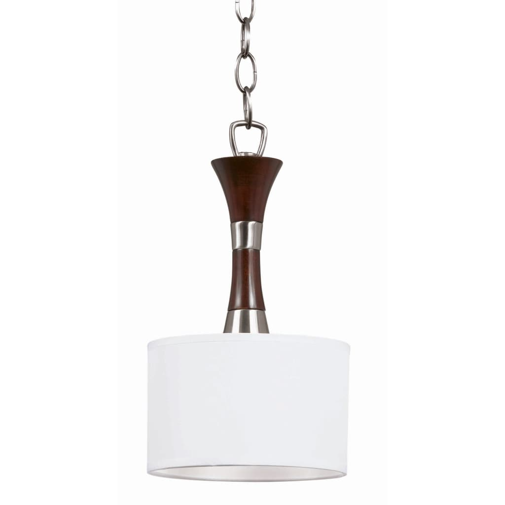 Triarch International Brady 1-light Brushed Steel and Wood Pendant Chandelier - Thumbnail 0