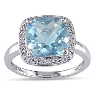 Miadora 10k White Gold Sky Blue Topaz and 1/10ct TDW Diamond Ring (G-H, I2)