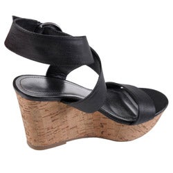 Journee Collection Women's 'Pippa' Black Open Toe Ankle Strap Wedge - Thumbnail 1