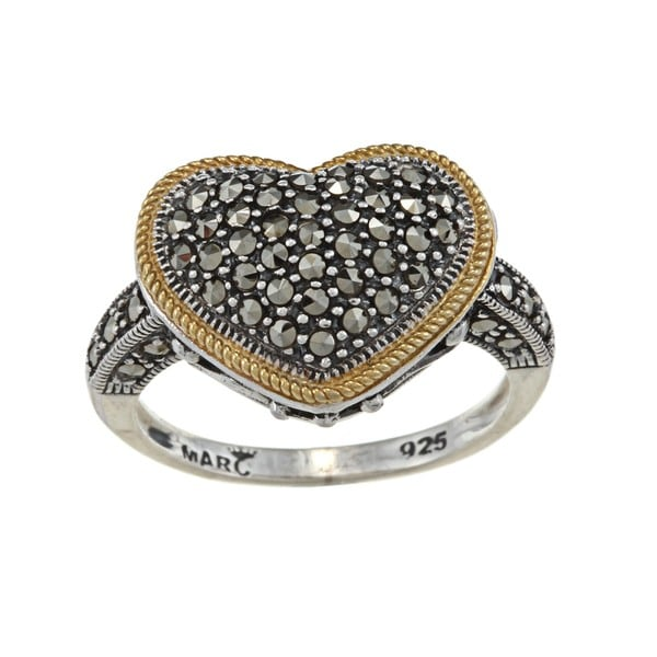 MARC 14K Yellow Gold Flashing Edge over Sterling Silver Marcasite Heart Ring