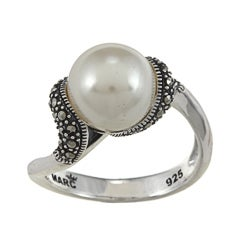 MARC Sterling Silver White Faux Pearl and Marcasite Ring