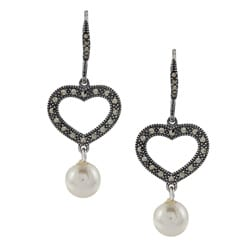 Sterling Silver White Faux Pearl and Marcasite Heart Earrings