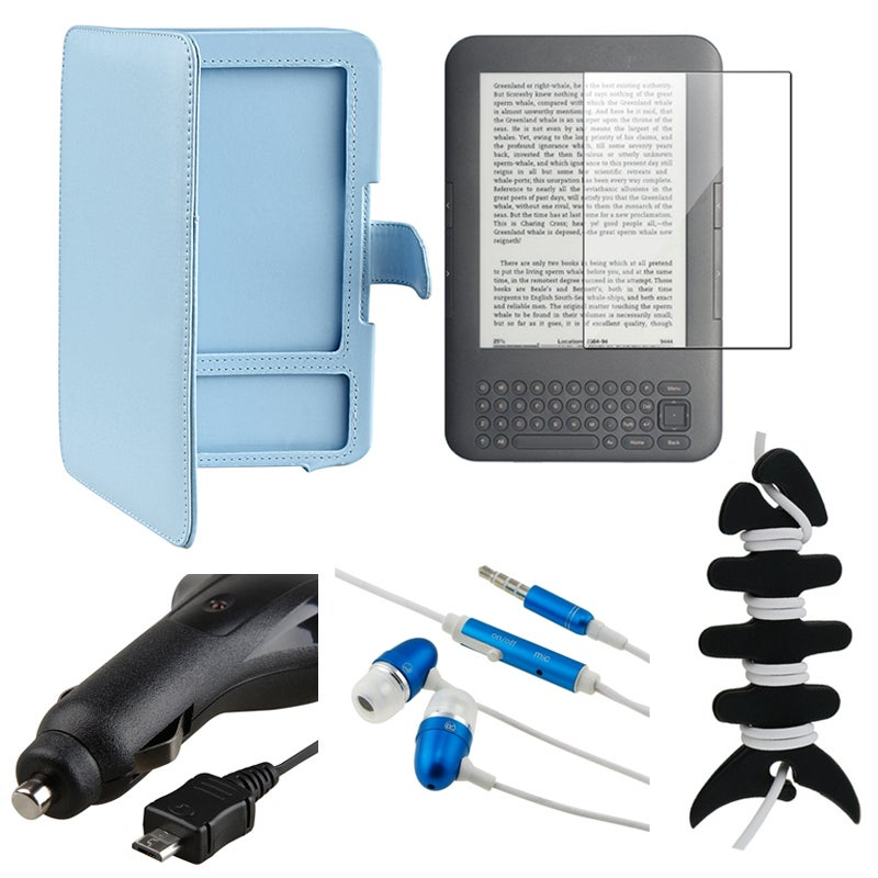 BasAcc Blue Leather Case/ Headset/ Wrap/ Charger for Amazon Kindle 3