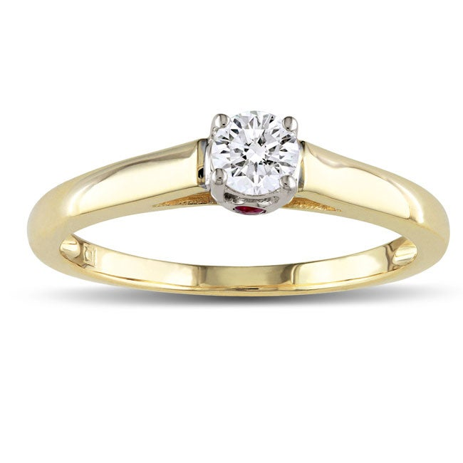 Miadora 10k Two-Tone Gold 1/4ct TDW Diamond and Pink Sapphire Ring