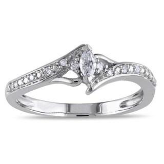 Miadora 10k White Gold 1/6ct TDW Marquise-cut Diamond Promise Ring