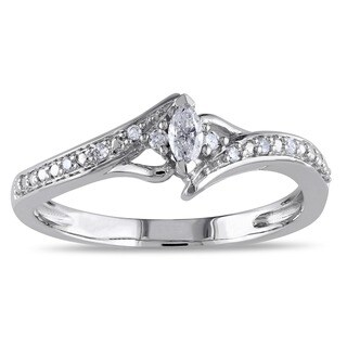 Miadora 10k White Gold 1/6ct TDW Marquise-cut Diamond Promise Ring