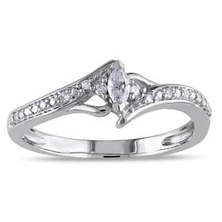 miadora 10k white gold 16ct tdw marquise cut diamond promise ring - Marquis Wedding Ring