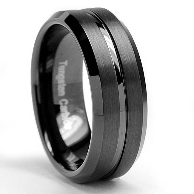 Men's Tungsten Carbide Brushed and Polished Black-plated Ring (8 mm) - Thumbnail 0