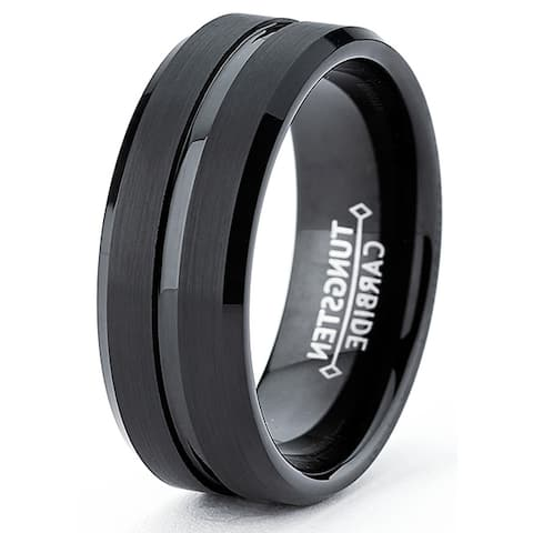 Oliveti Men's Tungsten Carbide Brushed and Polished Black-plated Ring (8 mm)