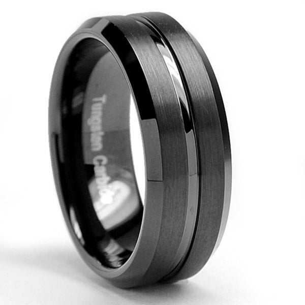 12 mm Comfort Fit Sizes 8 to 15 Tungsten Carbide Mens Flat Top Black Brushed Ring Band