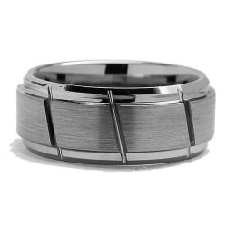 Men's Tungsten Carbide Diagonal Grooved Ring (9 mm) - Thumbnail 1
