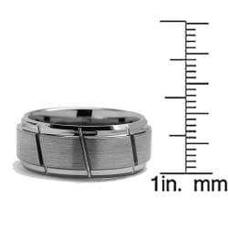 Men's Tungsten Carbide Diagonal Grooved Ring (9 mm) - Thumbnail 2