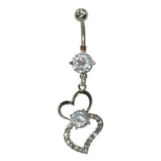 Supreme Jewelry Stainless Steel 14G Cubic Zirconia Hanging Heart Belly Ring