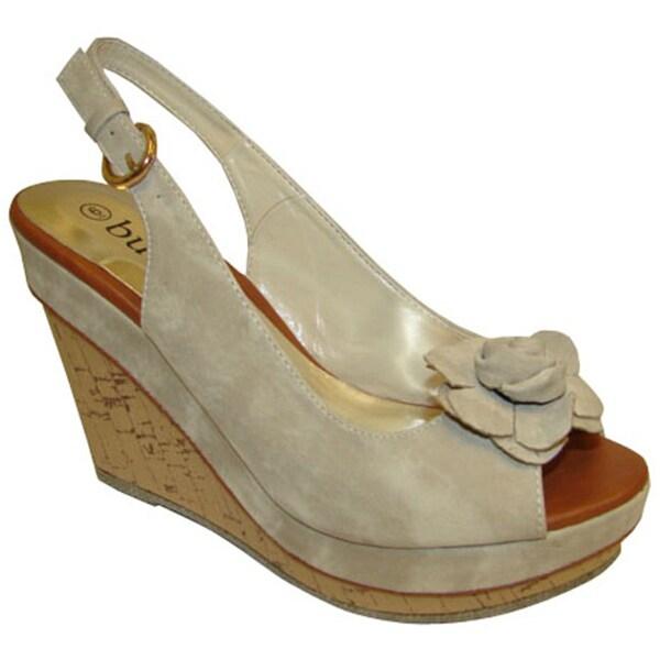 Bucco Women's Beige Slingback Wedge Sandals