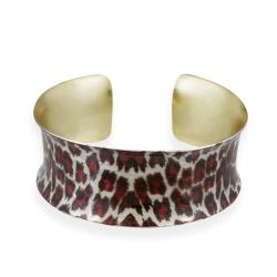 Glitzy Rocks Goldplated Leopard Design Enamel Cuff Bracelet