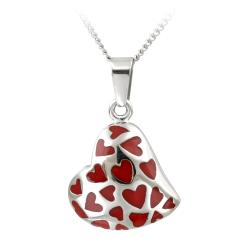 Glitzy Rocks Stainless Steel Red Enamel Heart Necklace