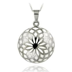 Glitzy Rocks Stainless Steel White Enamel Flower Design Necklace