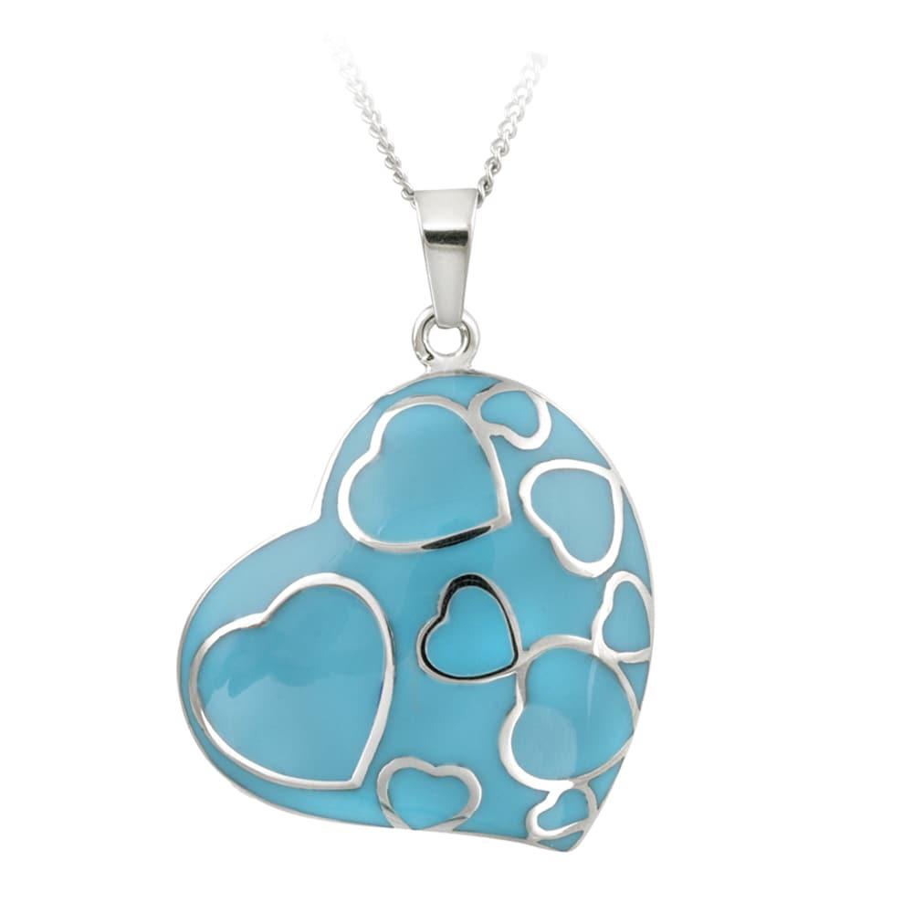 Glitzy Rocks Stainless Steel Turquoise Enamel Heart Necklace