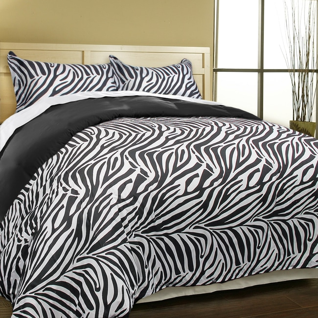 Super soft zebra print microfiber down alternative 3 piece Zebra print bedding