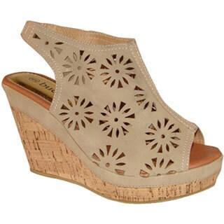Shop Bucco Women S Beige Cutout Slingback Wedge Sandals