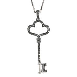 MARC Sterling Silver Marcasite Key to the Heart Necklace