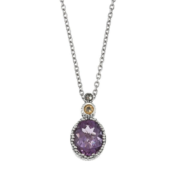 Marc Sterling Silver Amethyst, Citrine and Marcasite Heart Necklace