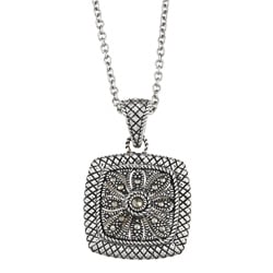 MARC MARC Sterling Silver Pave-set Marcasite Square-shaped Necklace